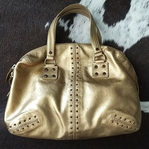 Michael Kors Astor Bag Metallic Gold Leather Zip